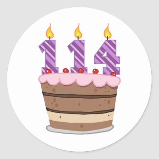 Age 114 on Birthday Cake Classic Round Sticker