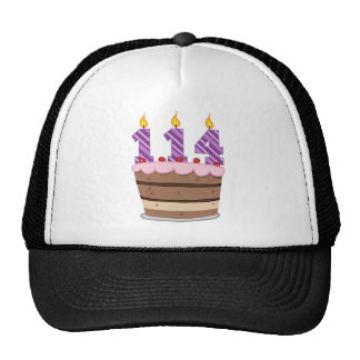 Age 114 on Birthday Cake Mesh Hat