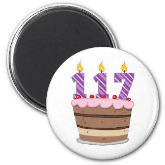 Age 117 on  Birthday Cake Magnet