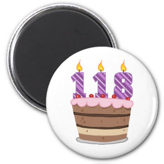 Age 118 on Birthday Cake Magnet