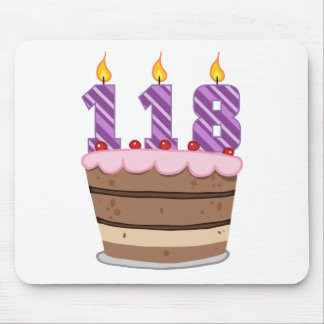 Age 118 on Birthday Cake Mouse Pad