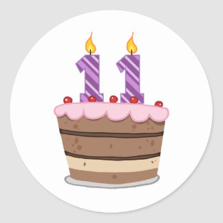 Age 11 on Birthday Cake Classic Round Sticker