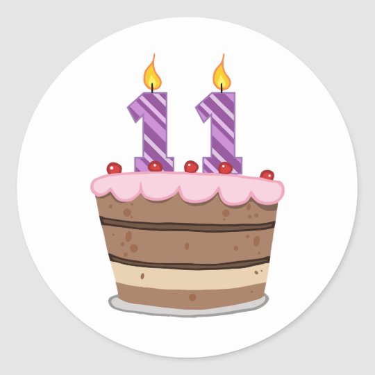 Age 11 on Birthday Cake Classic Round Sticker