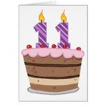 Age 11 on Birthday Cake Greeting Card