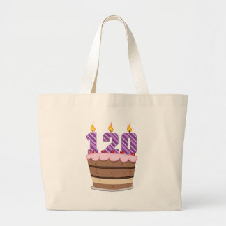 Age 120 on Birthday Cake Tote Bags