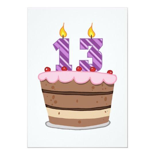 Age 13 on Birthday Cake Card