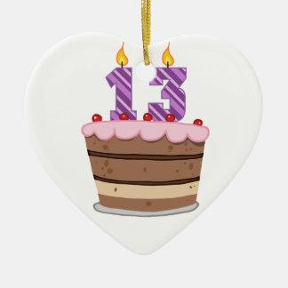 Age 13 on Birthday Cake Ceramic Ornament