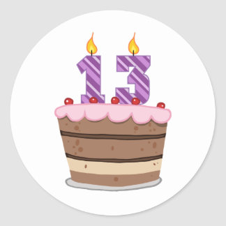 Age 13 on Birthday Cake Classic Round Sticker