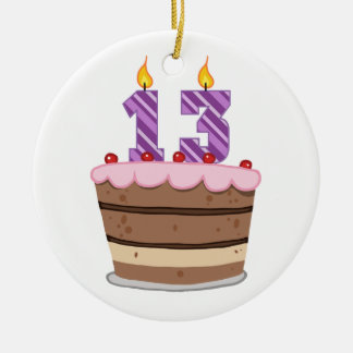 Age 13 on Birthday Cake Ornament