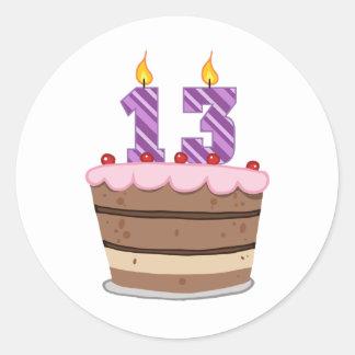 Age 13 on Birthday Cake Round Stickers