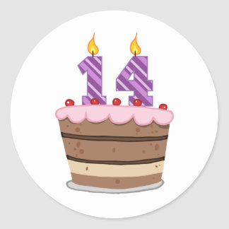 Age 14 on Birthday Cake Classic Round Sticker