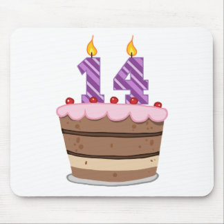 Age 14 on Birthday Cake Mouse Pad