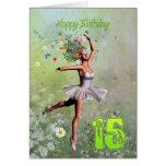 Age 15, flower fairy birthday card
