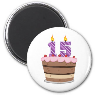 Age 15 on Birthday Cake 2 Inch Round Magnet