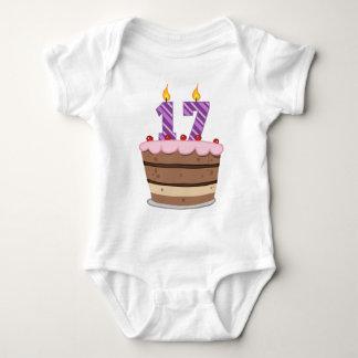 Age 17 on Birthday Cake Baby Bodysuit