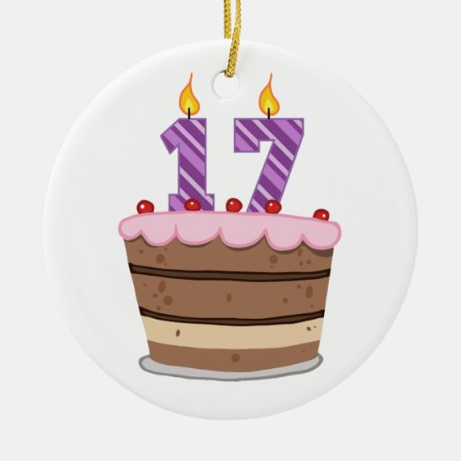 Age 17 on Birthday Cake Double-Sided Ceramic Round Christmas Ornament