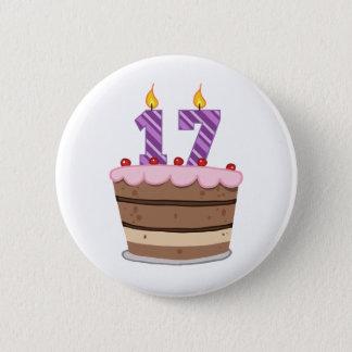 Age 17 on Birthday Cake Pinback Button