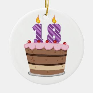 Age 18 on Birthday Cake Ceramic Ornament