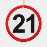 Age 21 Double-Sided ceramic round christmas ornament