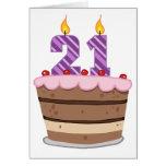Age 21 on Birthday Cake Card
