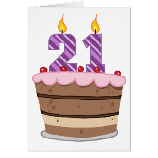 Age 21 on Birthday Cake Greeting Card