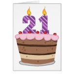 Age 21 on Birthday Cake Cards