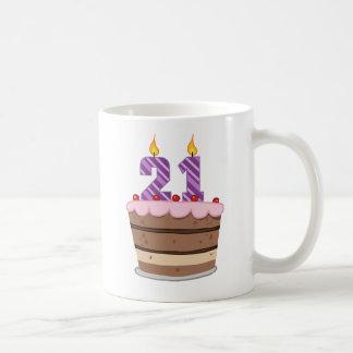 Age 21 on Birthday Cake Classic White Coffee Mug