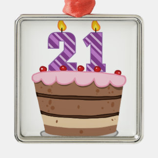 Age 21 on Birthday Cake Metal Ornament