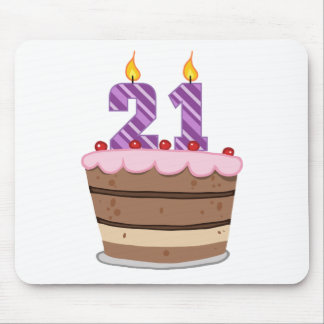 Age 21 on Birthday Cake Mouse Pad