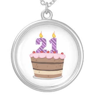 Age 21 on Birthday Cake Silver Plated Necklace