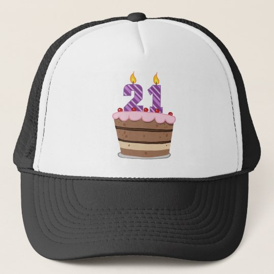 Age 21 on Birthday Cake Trucker Hat