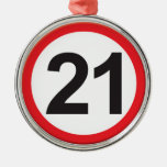 Age 21 round metal christmas ornament
