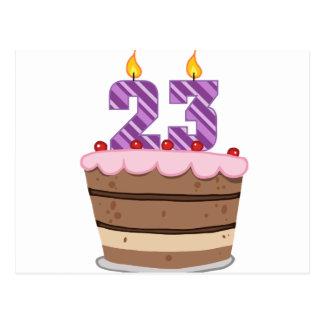 Age 23 on Birthday Cake Postcard