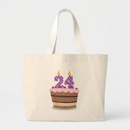 Age 24 on Birthday Cake Jumbo Tote Bag