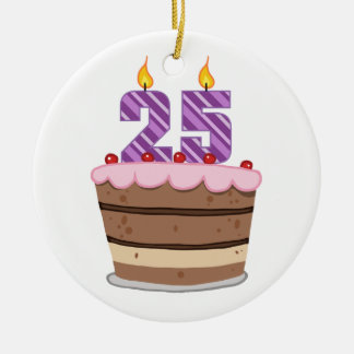 Age 25 on Birthday Cake Double-Sided Ceramic Round Christmas Ornament