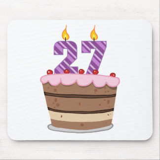 Age 27 on Birthday Cake Mouse Pad