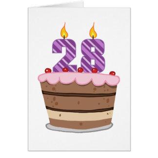 Age 28 on Birthday Cake Card