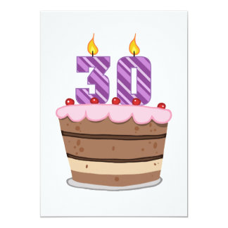 Age 30 on Birthday Cake Card