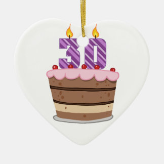 Age 30 on Birthday Cake Double-Sided Heart Ceramic Christmas Ornament