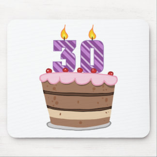 Age 30 on Birthday Cake Mouse Pad