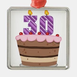 Age 30 on Birthday Cake Square Metal Christmas Ornament