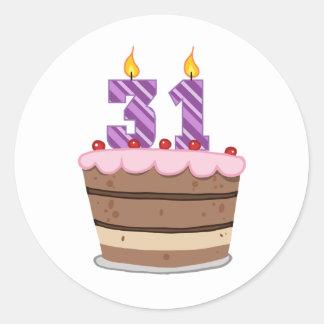 Age 31 on Birthday Cake Classic Round Sticker