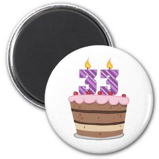 Age 33 on Birthday Cake 2 Inch Round Magnet