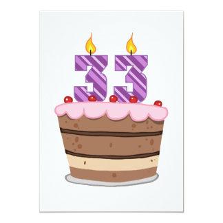 Age 33 on Birthday Cake Card