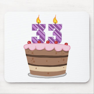 Age 33 on Birthday Cake Mouse Pad