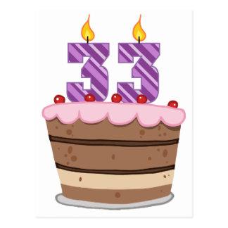 Age 33 on Birthday Cake Postcard