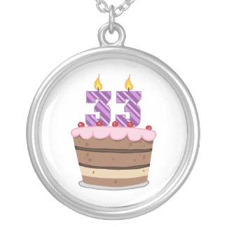 Age 33 on Birthday Cake Round Pendant Necklace