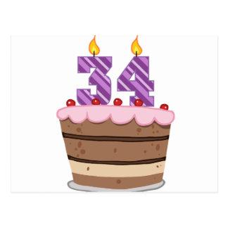 Age 34 on Birthday Cake Postcard
