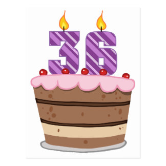 Age 36 on Birthday Cake Postcard