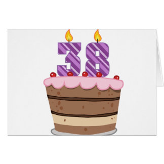 Age 38 on Birthday Cake Greeting Card